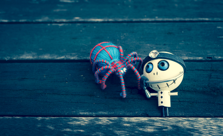 wood spider: Halloween concept of wooden doll and spider on wood floor, vintage style