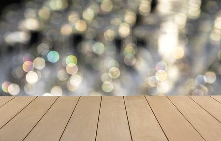shiny floor: Wooden floor with blur shiny bokeh background Stock Photo
