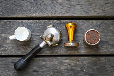 handle bars: Coffee equipments on dark wood background