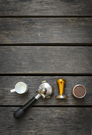bar tool set: Coffee equipments with space on wood background, vertical style
