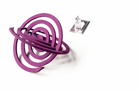 coils: Mosquito coils with stand with space on white background