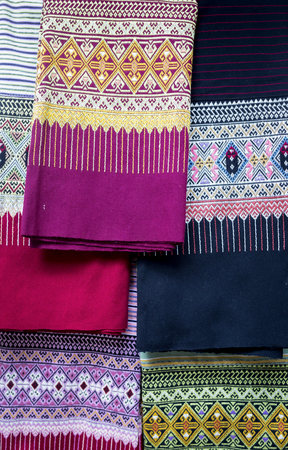 sarong: Collection of famous traditional thai sarong from northern Thailand Stock Photo