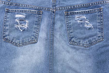 jeans skirt: Blue jeans skirt design, skirt pocket, ripped jeans Stock Photo