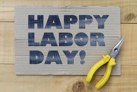 silver state: Happy labor day design text on paper background