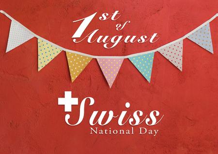 Conception de carte de journée nationale suisse sur la fête des drapeaux de couleur sur fond de mur de ciment rouge Banque d'images - 82882635