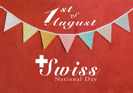 Swiss National day card design on Color party flags on red cement wall background