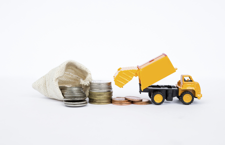 Yellow truck with coin on white background