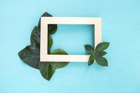 is green: Green leaf over wooden frame on blue background