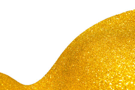 Abstract Gold glitter texture border with space on white background