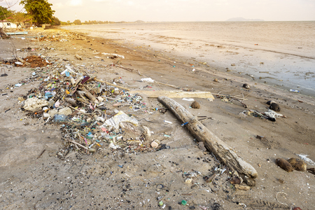 Environmental problem, sea polluted, rubbish on the beach, dirty beach in Thailand