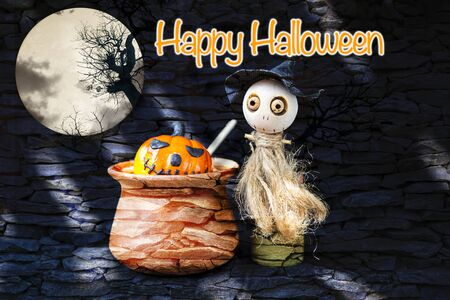 Happy Halloween background concept, Cute little wooden witch doll making poison halloween pumpkin in clay pot over abstract stone pattern background, Halloween decorate item