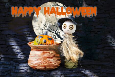 Happy Halloween background concept, Cute little wooden witch doll making poison halloween pumpkin in clay pot over abstract stone pattern background, Halloween decorate item Stok Fotoğraf - 132796094