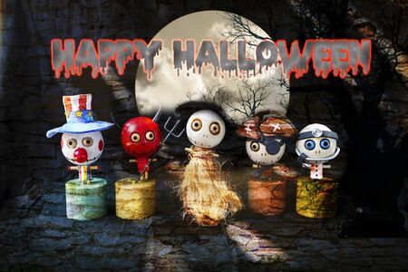 Happy Halloween concept background, Cute little wooden ghost doll gang on abstract stone wall texture background, red devil with his ghost friends Banco de Imagens