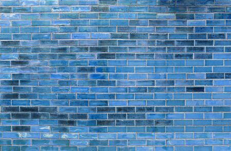 Abstract blue brick wall texture background, blank blue brick wall design pattern background