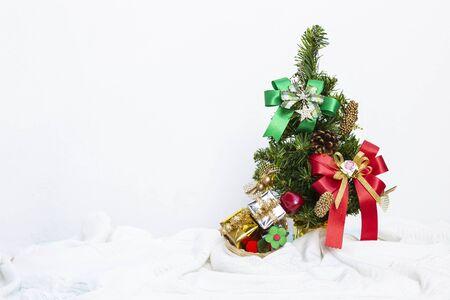 Christmas concept background, Colorful decoroation on Chrismast tree on white background, festive season gift and decoration object