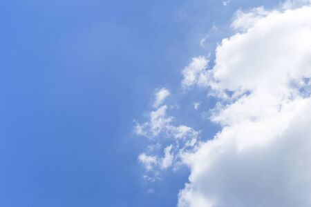 Clear blue sky with white cloud, weather and season concept, nature