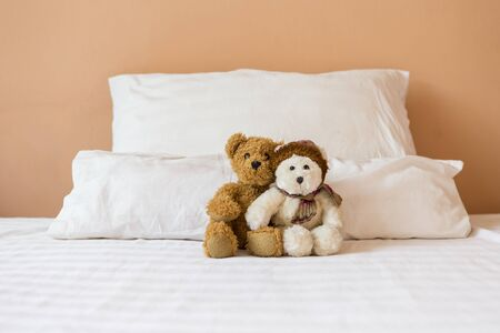 Cute couple brown and white teddy bear sitting together on the bed, bed time, love and romance concept