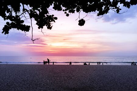 Beautiful sunset at the beach, view under the big tree, holiday and vacation relaxing time, travel and tourism concept, Surin Beach on Phuket Island, Thailand
