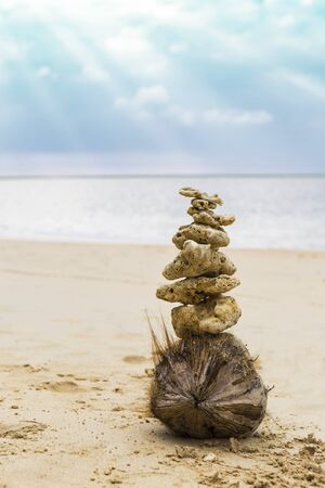 Stack of dead coral reef on the old coconut fruit over blurred beach, outdoor day light, environmental