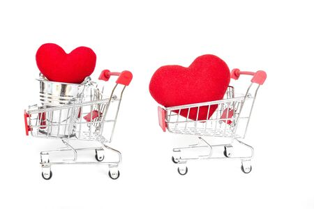 Red heart on shopping cart isolate on white background, love and romance concept, valentine concept background