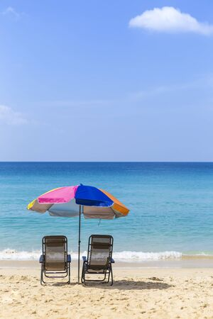 Beautiful beach view, relaxing clean and peaceful beach in South of Thailand, blue sky with blue sea, holiday and vacation destination