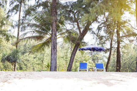 Beach chair under the tree on the white sand beach, relaxing with nature, summer outdoor day light, holiday and vacation break, empty beach Reklamní fotografie