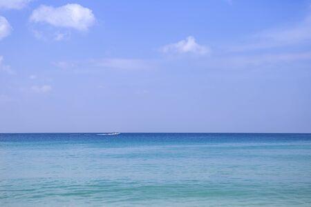 Beautiful blue sea and blue sky view, nature concept background, peaceful beach, summer break destination