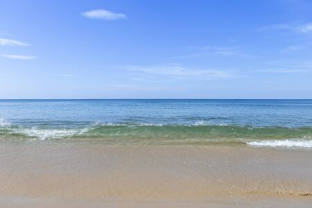 Beautiful beach on Phuket island in South of Thailand, empty and peaceful beach, summer outdoor day light, clean beach and clear blue sky, nature background Banco de Imagens