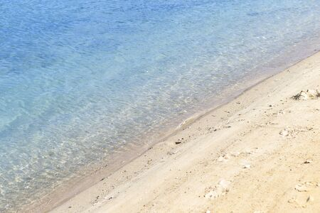 Clean sea water and sand beach, environmental concept, nature background, summer outdoor day light