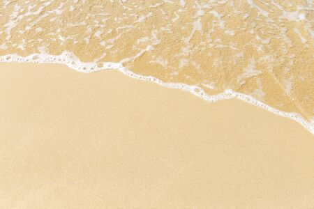 Blank fine sand and white wave, nature background, outdoor day light, summer beach Stock Photo