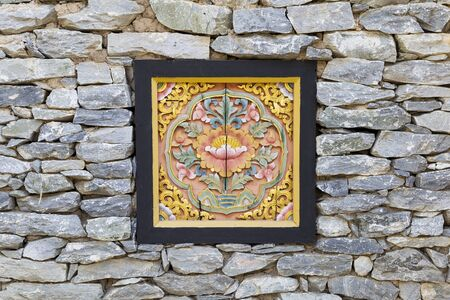 Wood carving for wall decoration, Bhutan traditional wood carving 스톡 콘텐츠