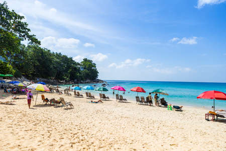 Tourist on beautiful beach in south of Thailand, holiday destination to Asia, summer outdoor day light Stok Fotoğraf - 155302773