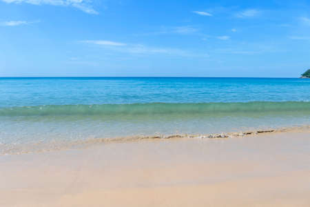 Clear sea water wave on clean sand beach on Phuket island in South of Thailand, summer outdoor day light, clean environmental concept, nature background Stok Fotoğraf - 155340728