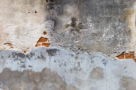 Old ruined cement wall background, outdoor day light, crack texture on old wall Stok Fotoğraf - 155444304