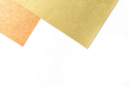 Gold and orange paper with Chinese pattern on white background, web and presentation background idea