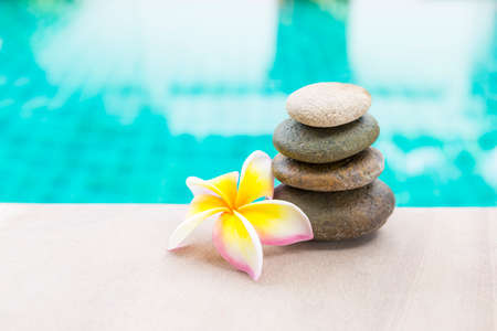 Beautiful stone stack with fresh Plumeria flower on swimming pool edge with space on blurred blue background, spa background idea, outdoor day light
