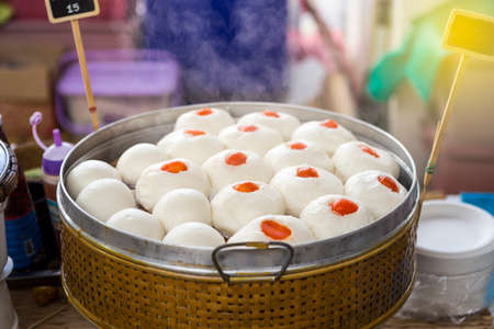 Pork Chinese bun and sweet black beans bun in steamer, Chinese style snack, Asian food market Stok Fotoğraf