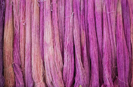 Pink color cotton thread background, natural color dye raw cotton thread in Thailand Stok Fotoğraf