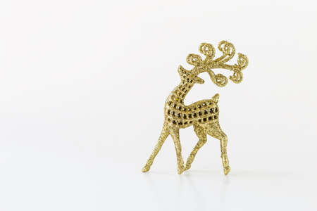 Design gold glitter reindeer isolate on white background, Christmas decoration item