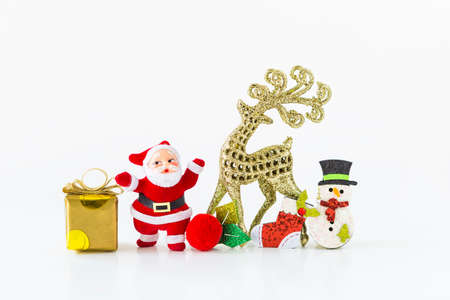Christmas decoration item isolate on white background, Santa claus and gold reindeer with Christmas ornaments Stok Fotoğraf