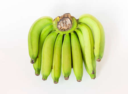 Fresh green banana isolate on white background, raw banana Stok Fotoğraf