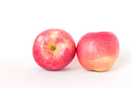 Pink apple isolate on white background, Fresh Fuji apple, healthy diet food Stok Fotoğraf