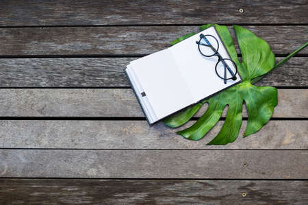 Eyeglasses with blank notebook one green leaf with space on old wooden table background, education concept