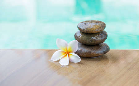 Spa and wellness concept background, Plumeria flower and stone on swimming pool edge with space on blurred blue water background, tropical and summer season