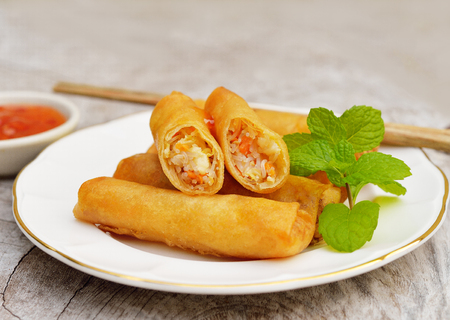 thai ethnicity: Fried Chinese Traditional Spring rolls food Stock Photo
