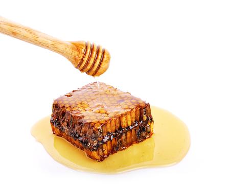 honey comb on white background. Stock Photo