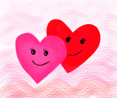 Valentines day , red pink paper wave heart and smile,love filling  this on white background