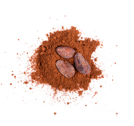 Cocoa power,cocoa seeds  on white background.