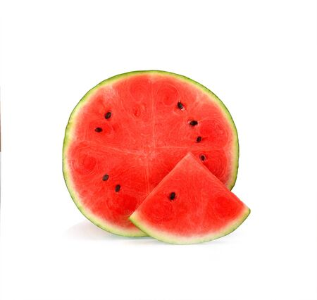 A half and slice pieces of fresh watermelon isolated on white