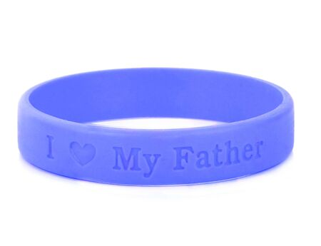 Blank rubber plastic stretch blue  bracelet isolated on white background.gift for father day.